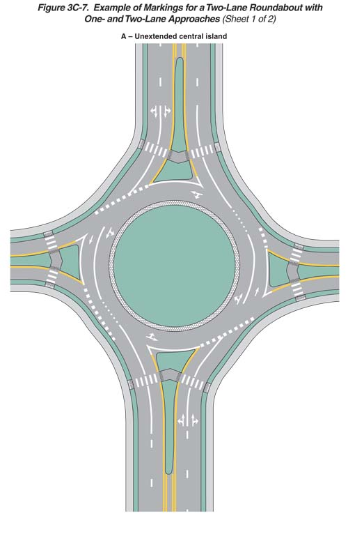 Overhead diagram of a multi-lane roundabout