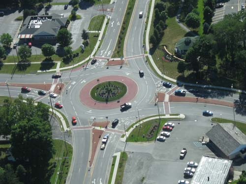 double lane roundabout from overhead