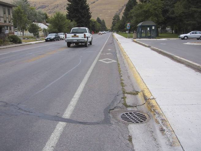 Bike Lane With Drainage Grate