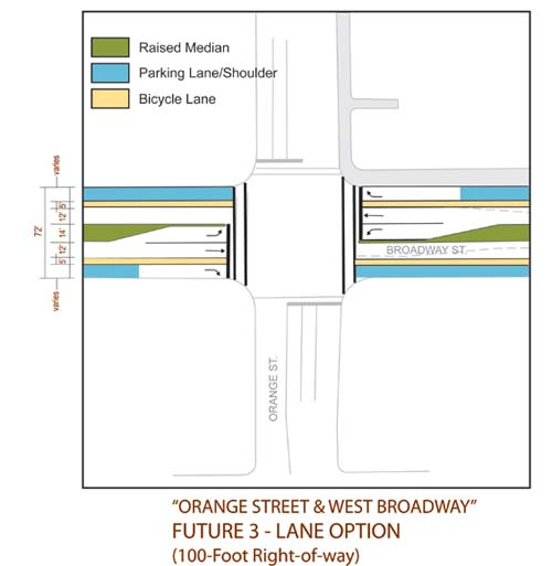 3-lane Broadway and Orange St. Intersection- Enhanced
