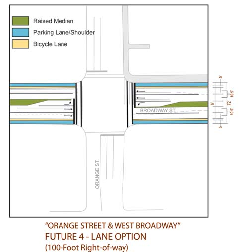 Possible Intersection of 4-Lane Broadway and Orange Ave.- Not Recommended
