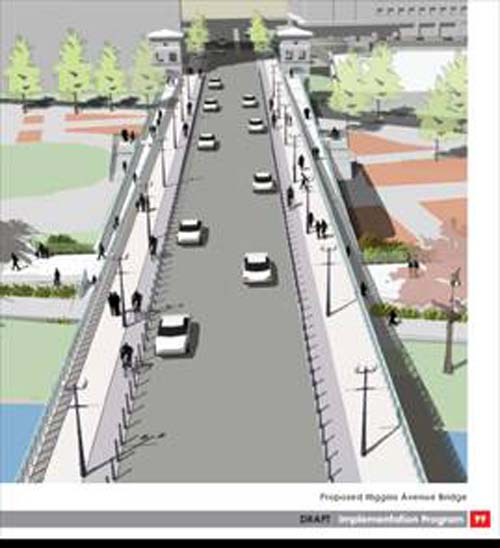 Rendering of a 4-lane Higgins Ave. Bridge Converted to a 2-Lane Bridge with Widened Bike Lanes and Sidewalks