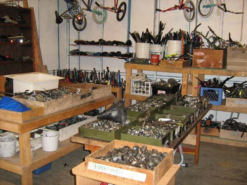 The bike parts in the shop