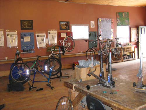 The main room of the community bike shop