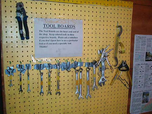 Simple bicycle tool board