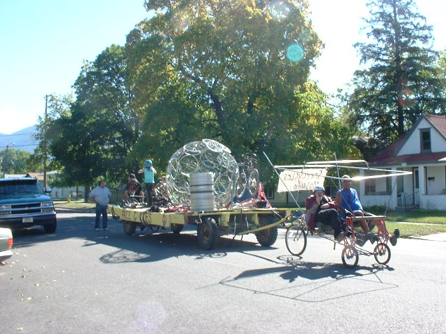 The winning entry in the 2010 homecoming parade- a bike powered float